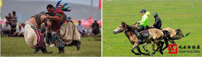 蒙古草原男儿摔跤与赛马